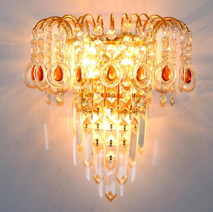 Crystal wall lamp gold wall lamp modern simple stylish bedroom living room dining room lighting fixture led lamps for home lamp modern crystal bed room wall lamp led sconces 110v 220v living room light home deocrationg lighting fixture free shipping