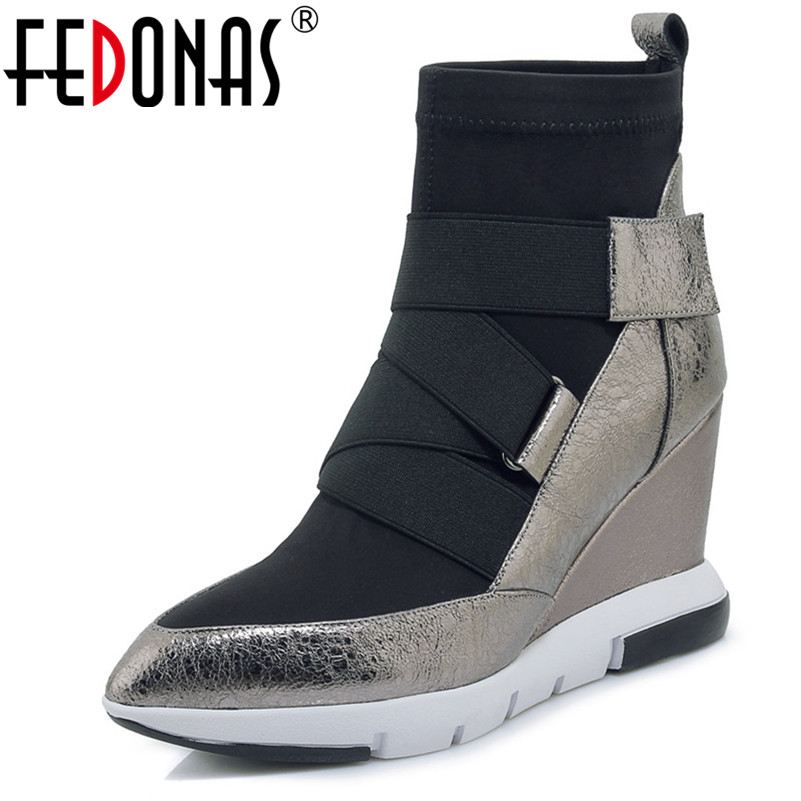 FEDONAS Fashion Women Platform Ankle Boots Autumn Wedges High Heeled Ladies Shoes Sexy Pointed Toe Genuine
