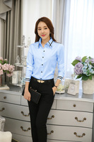 New Arrival Light Blue Long Sleeve Shirt Summer Women Blouse Autumn Lady Big Size Shirt S