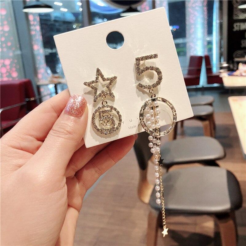 Korea Handmade Number 5 Star Asymmetry Anti allergy Rhinestone Women Drop Earrings Dangle Earrings Fashion Jewelry QQD5 in Drop Earrings from Jewelry Accessories