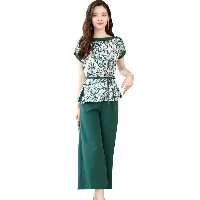 2018 новые летние женские свободные костюм блузка топ широкие брюки корейской моды из двух частей комплект одежды цвета: зеленый, черный Штаны m XXL