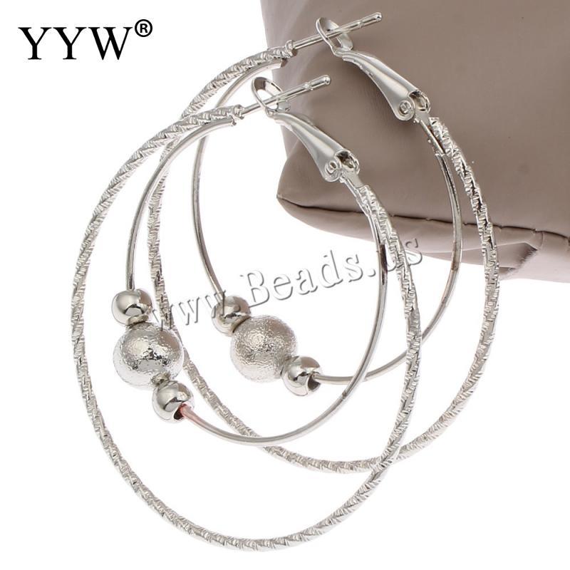 2017 New Arrival jewelry silver hoop earrings hot sale fashion women Silver Beaded basketball Loop big huge round hoop earrings