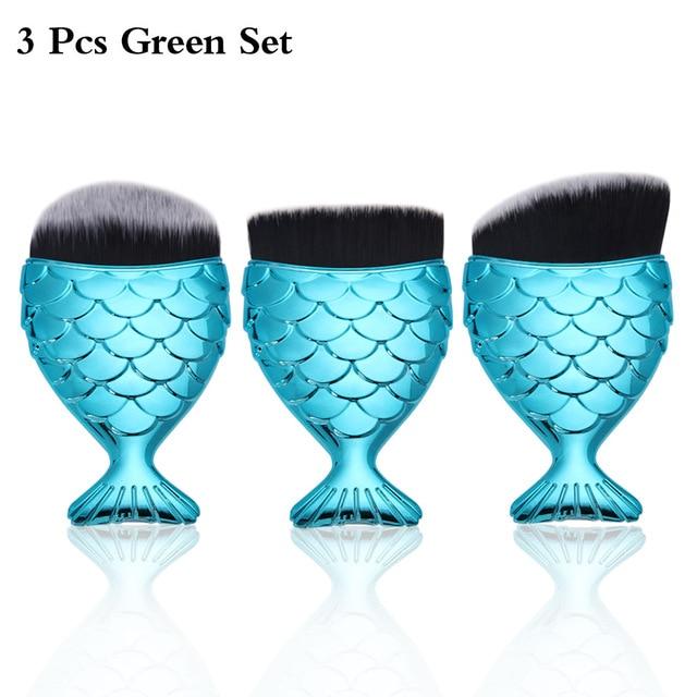 1/3pcs Women's Fashion Brushes Mermaid Foundation Cosmetic Powder Makeup Brush Face Contour Blush Makeup Brushes Sets Maquiagem Makeup Brushes