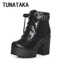 Tunataka Haute Talon Épais Semelle Bottines de Combat Bottes pour Femmes Plate-Forme Lace Up tactique Bottes De Mode, Plus La Taille Chaussons