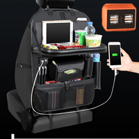 4 USB Backseat Bag Car Organizer Phone Charge Carbon Fiber PU Leather Storage Travel Stowing Tidying Universal Auto Accessories