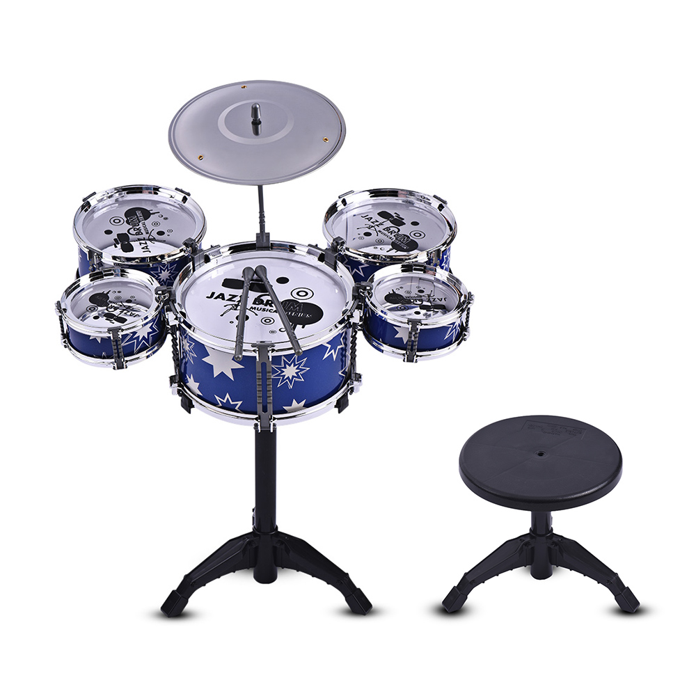 Children Kids Jazz Drum Set Kit Musical Educational Instrument Toy 5 Drums + 1 Cymbal with Small Stool Drum Sticks for Kids