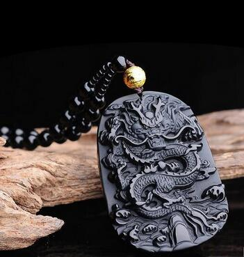 Selling Jewelry>>>Natural Obsidian Guardian Pendant Necklace The Dragons Successor Pendant Dragon Brand Necklace Pendant