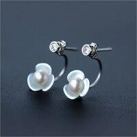 Earrings female fashion sweet shell flowers earrings personalized natural freshwater pearl ear jewelry for women
