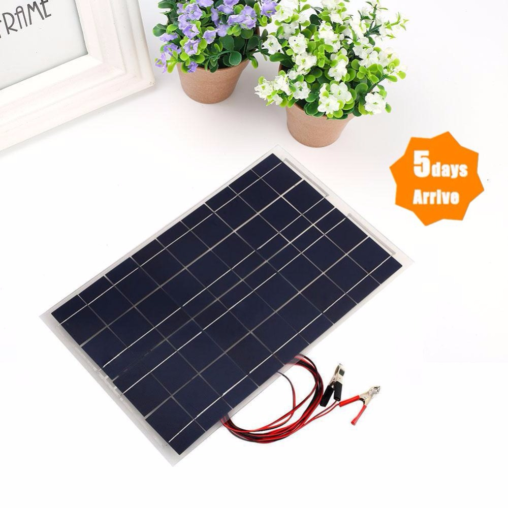 18V 30W Portable Solar Power Panel Car Battery Bank Charger Universal W/Alligator Clip Polycrystalline silicon 52 x 33 x 0.4cm 100w 12v monocrystalline solar panel for 12v battery rv boat car home solar power