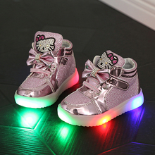 Girls Shoes 2016 Spring Hello Kitty Rhinestone Led Shoes Girls Pink Princess Cute Shoes With Light