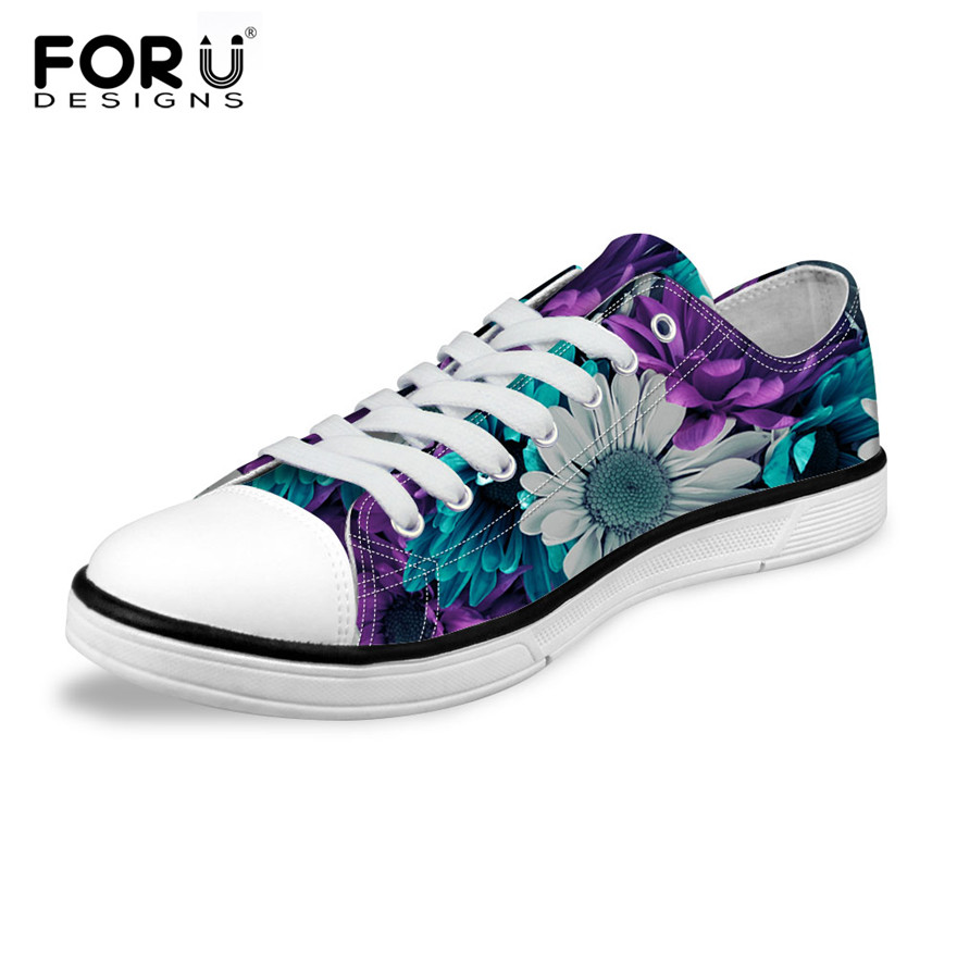 FORUDESIGNS Fashion Women Low Top Canvas Shoes Classic Female Flower Pattern Vulcanized Shoes Ladies Casual Shoes Woman Sneakers e lov women casual walking shoes graffiti aries horoscope canvas shoe low top flat oxford shoes for couples lovers