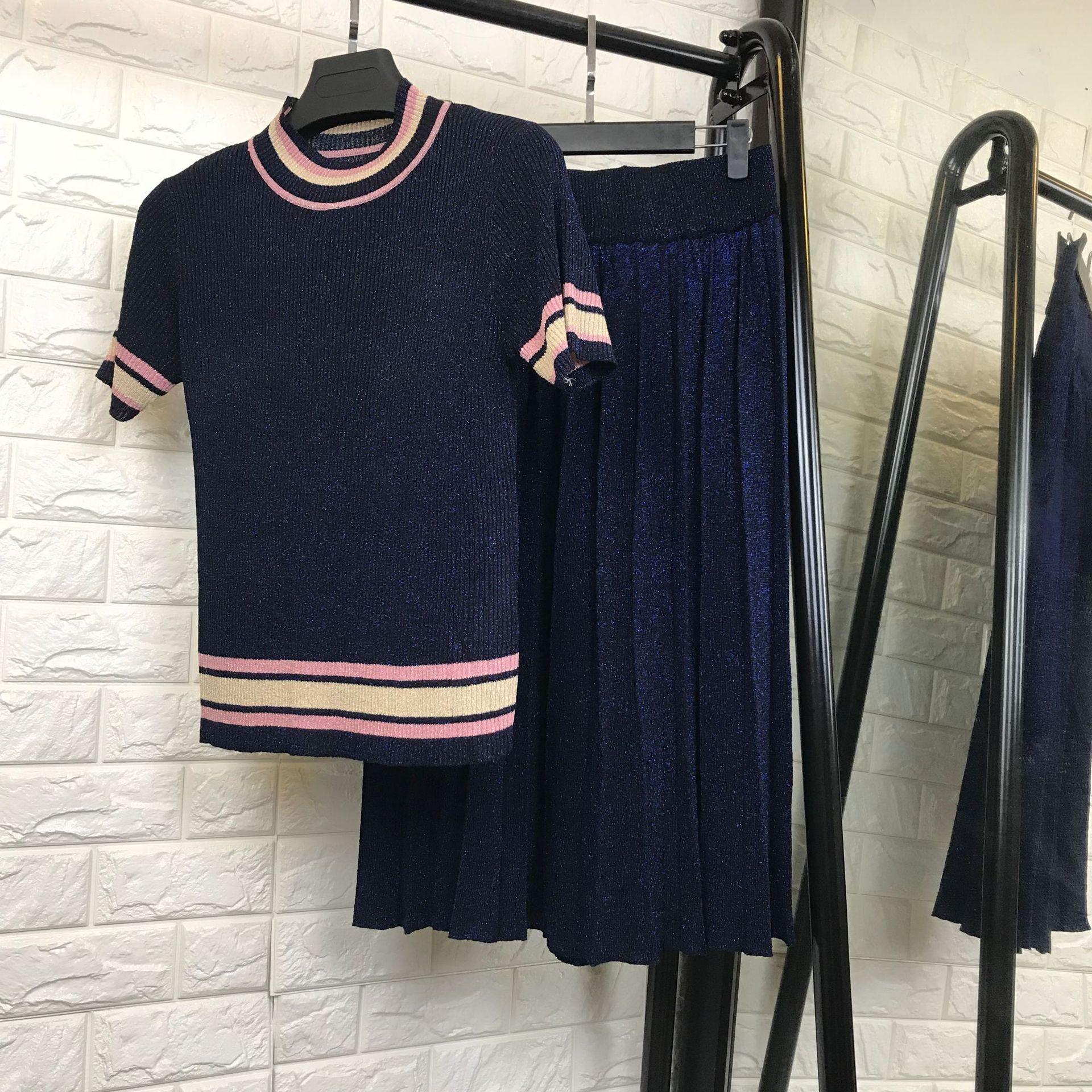 Women elegant fashion short sleeve striped hem knit sweater tops + pleated long skirt 2 piece set new 2018 summer fashion blue