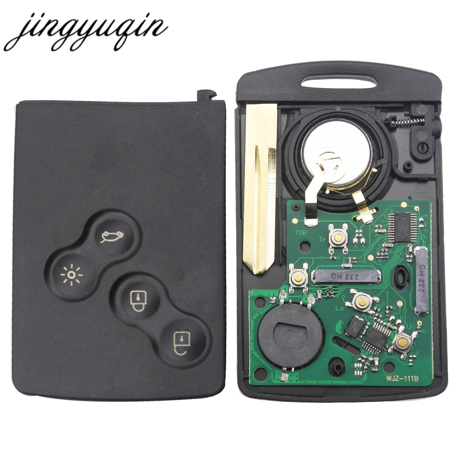 Jingyuqin Carte De Clé De Voiture Fob 433 mhz PCF7952 Puce pour Renault Megane Scenic Laguna Koleos Clio Uncut Lame 4 Bouton télécommande de la Clé