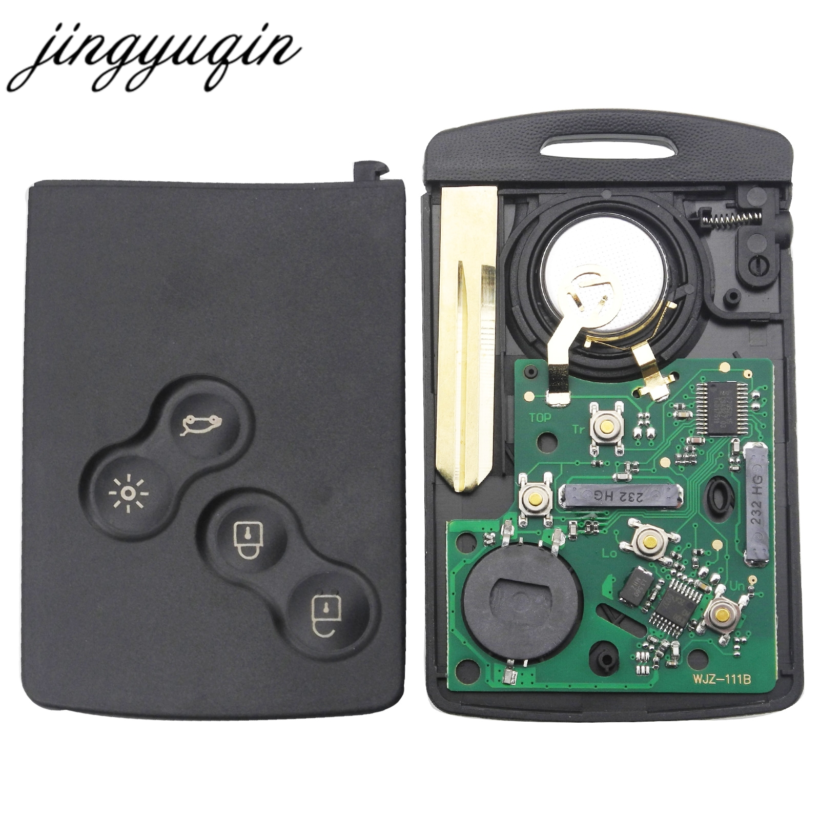 jingyuqin Car Key Card Fob 433MHZ PCF7952 Chip for Renault Megane Scenic Laguna Koleos Clio Uncut Blade 4 Button Remote Key jingyuqin new 1 button uncut blade remote car key shell for renault twingo clio kangoo master no chip keyless entry fob case page 2