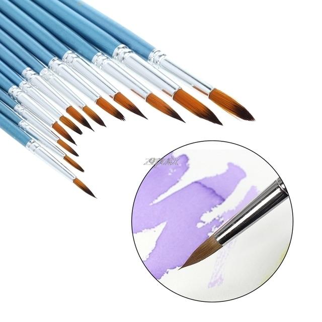 Lot de pinceaux de peinture à lhuile | En Nylon dartiste pour aquarelle, acrylique, pinceaux de peinture à lhuile, dessin Art Supplie G12 livraison directe 12 pièces/paquet