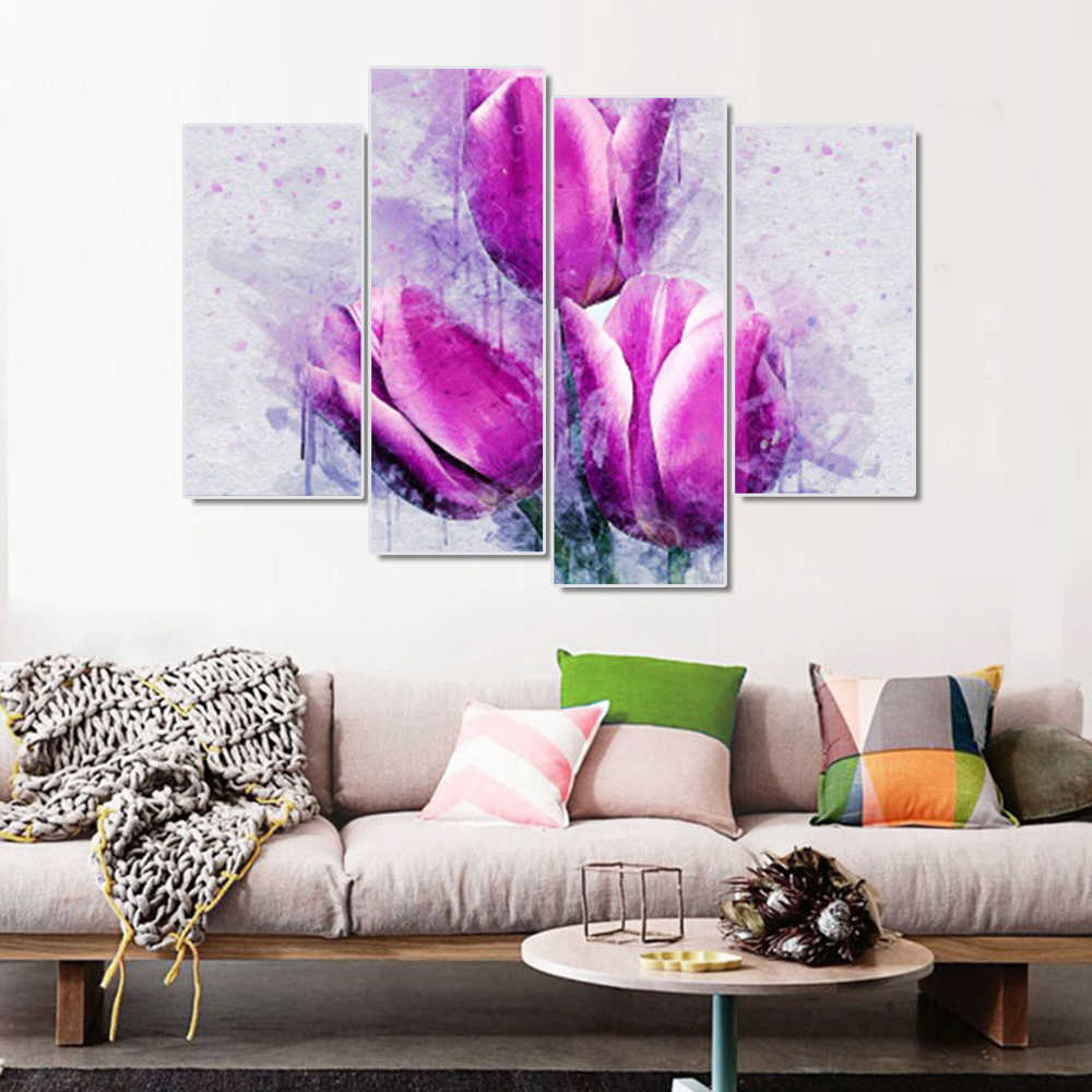 Laeacco Nordic Calligraphy Painting 4 Panel Flowers Canvas Posters and Prints Watercolor Tulip Wall Art Home Living Room Decor