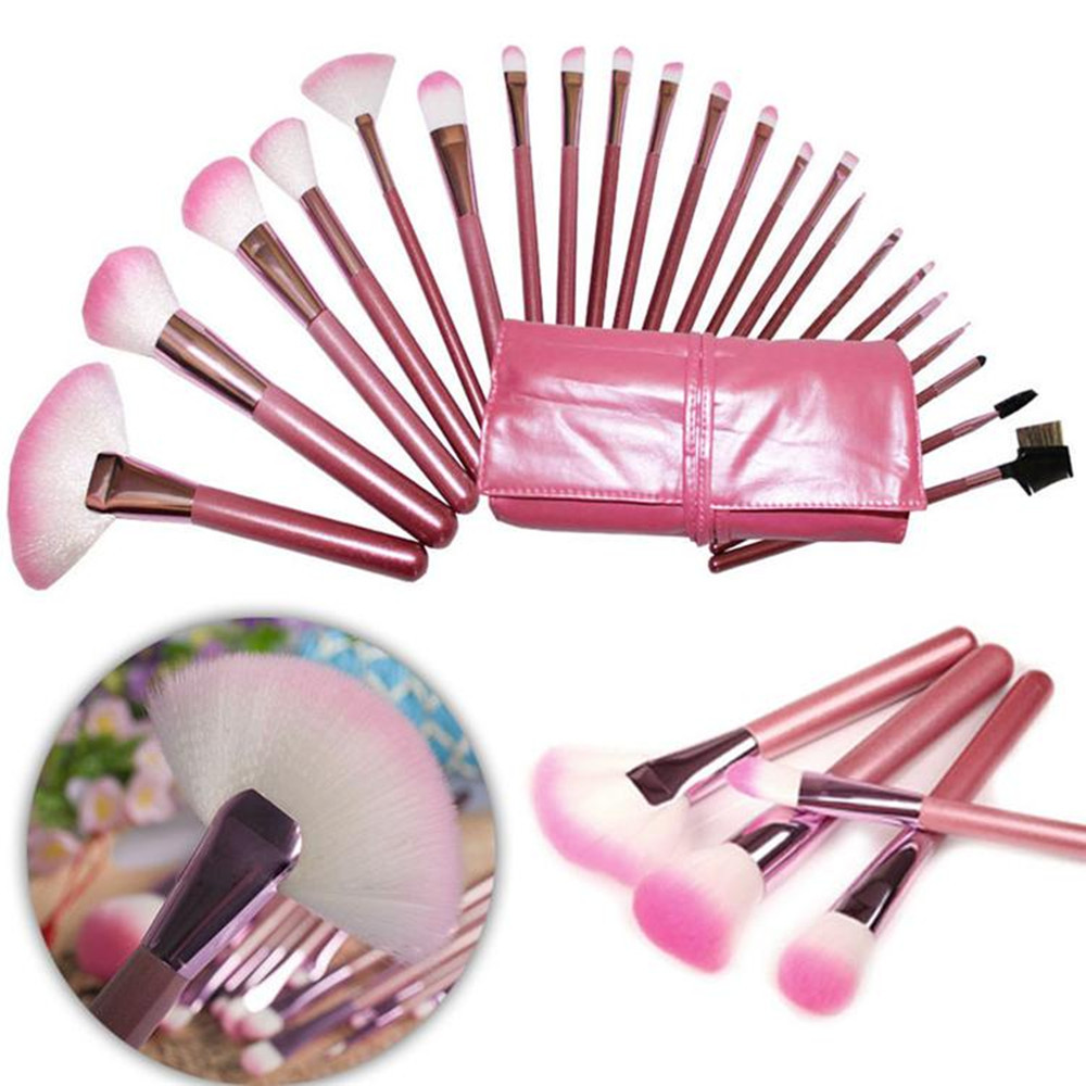 Woman's Pink 22 Pcs Make Up Tools Professional Superior Soft Cosmetic Makeup Brush Set Kit + Pouch Bag Case professional cosmetic make up foundation soft brush black pink