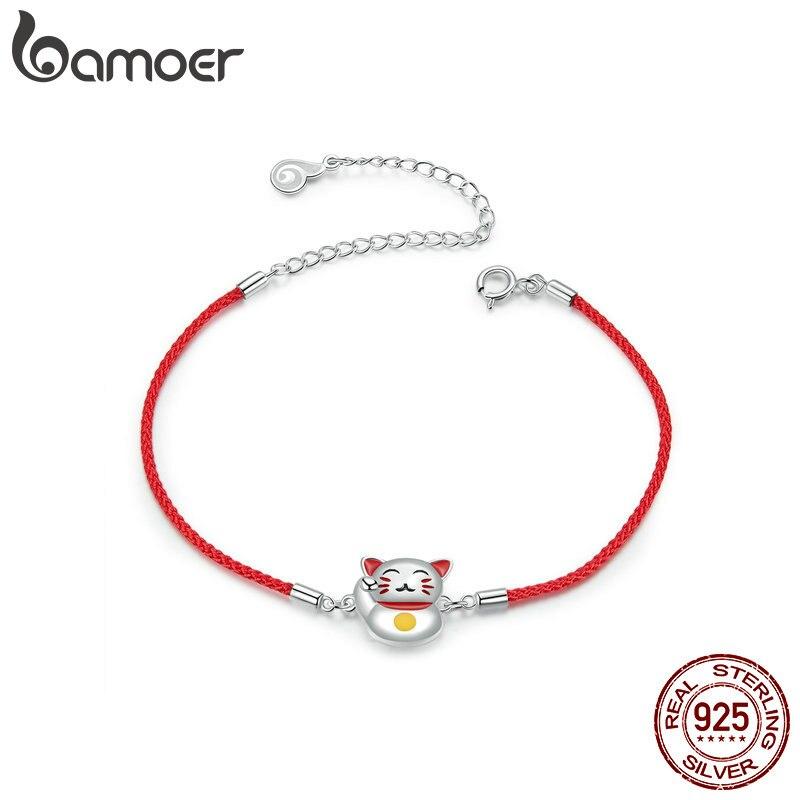 Pulsera de gato de la suerte de bamoer para chica ajustable cuerda roja relación pulseras 925 joyería de plata de ley Bijoux BSB012