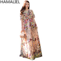HAMALIEL Boho Style Summer Long Dress 2017 Luxury Embroidey Floral Mesh Short Sleeve Lady Women Holiday