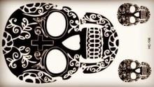 Black Beautiful Classic Old Cross Skull Tattoo Body Art Beauty Makeup Waterproof Temporary Tattoo Stickers