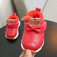 Winter Booties Genuine Leather Baby Boots Soft Toddler Antiskid Shoes Girls Plush Velvet Inside Child Footwear