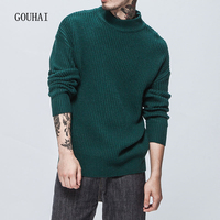 2017 Winter Solid Casual Pullover Men Sweaters Men Turtleneck Thick Loose Jumper For Man Pull Homme Plus Size S XXL High Quality
