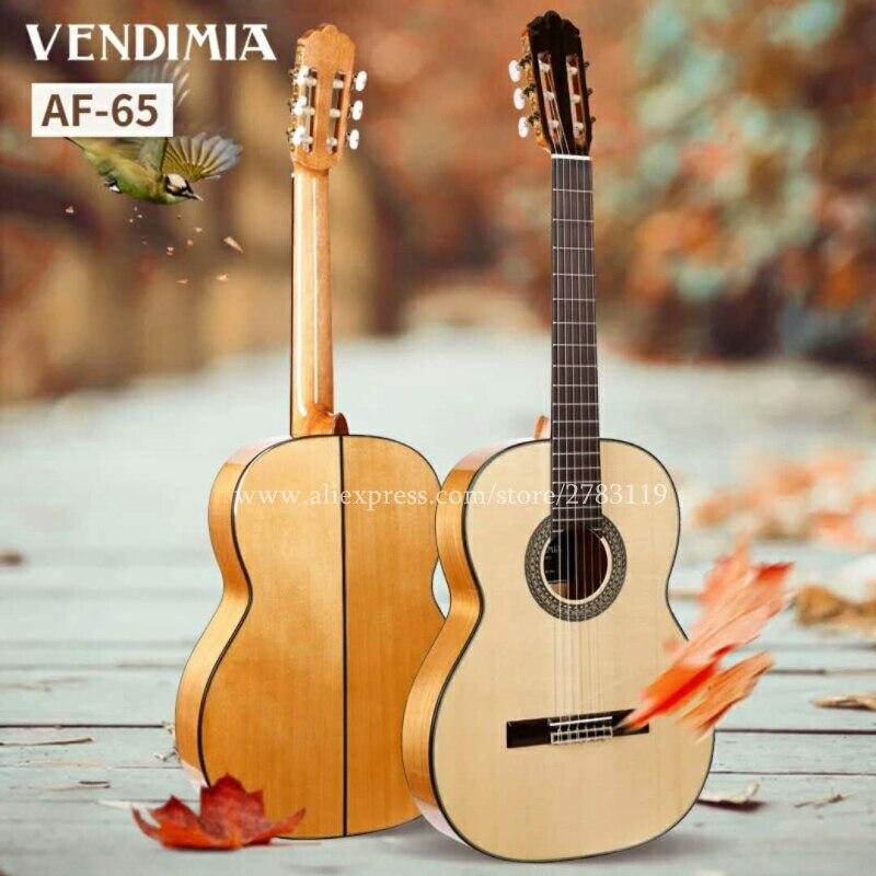 2018 nueva llegada insignia hecho a mano 39 pulgadas acústica guitarra flamenca con Abeto sólido/Aguadze cuerpo + cuerdas de guitarra clásica AF65