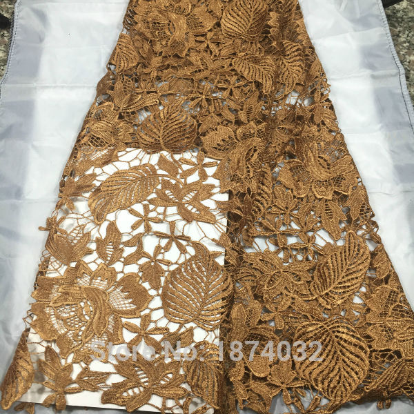 african lace fabric 2017 high quality lace, embroidery flower fabric brown color free shipping 5yard/lot