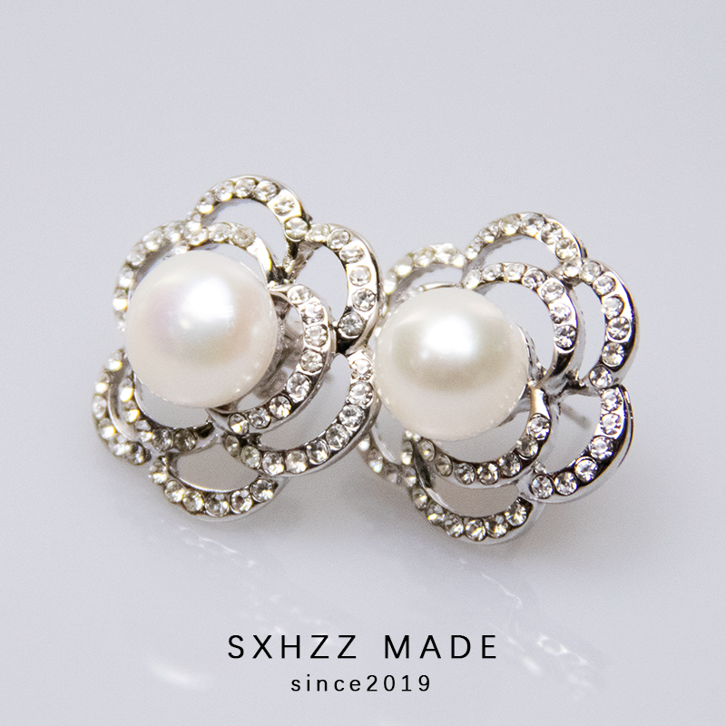SXHZZ 100 Genuine 925 Sterling Silver Round Earrings Natural Freshwater Pearl White Drop Crystal Flower Accessory Jewelry 2019 in Earrings from Jewelry Accessories