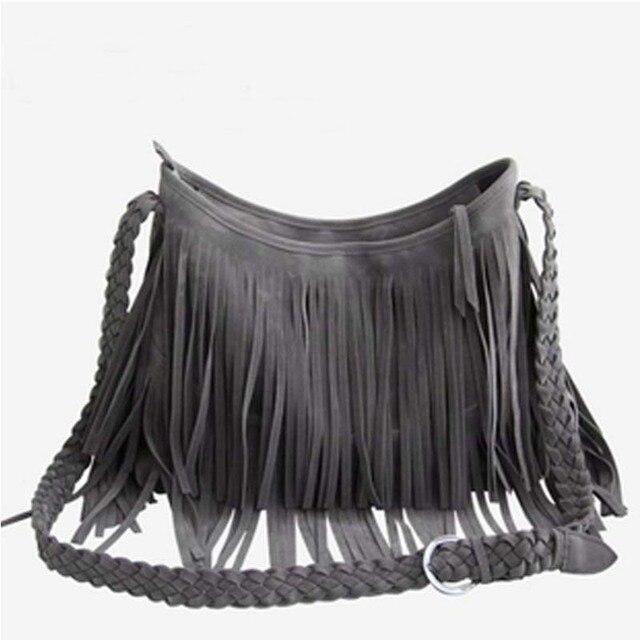 Free ship Hot sale Suede Fringe Tassel Shoulder Bag women's handbag 4colors,Faux Suede Tassels Hobo Clutch Shoulder Totes Bag