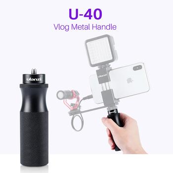 Ulanzi U-40 Vlog uchwyt rękojeści z 1 4 adapter do montażu na zimno do mikrofonu LED Light Vlogging Kit Live audio wideo Grip tanie i dobre opinie