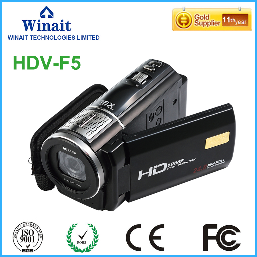 2017 Popular Professional Camcorder Digital Video Camera HDV-F5 3.0 24megapixels 1080P HD 30fps Remote Control LED Light Flash
