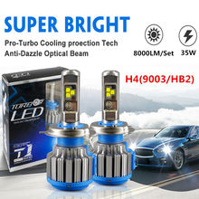 DIC Turbo LED H7 H4 Hi/Lo Beam 70W 8000LM Headlight H1 H11 9005 HB3 9006 HB4 H13 H3 9007 880 H27 9012 T1 Fog Lights Car Styling(China)