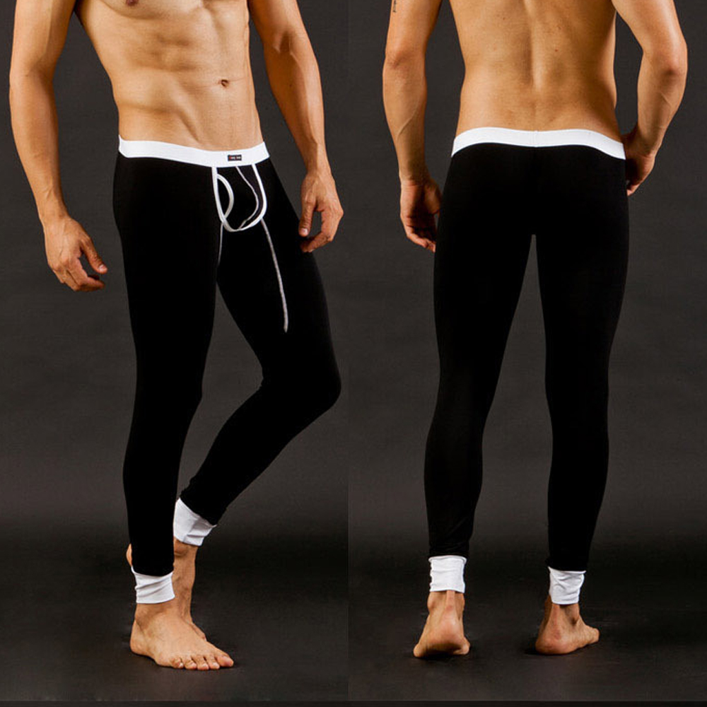 Winter Pants Men Thermal Warm Long Johns Pants Autumn Tight Leggings Inner Pants Modal Underwear Pouch Breathable Pants
