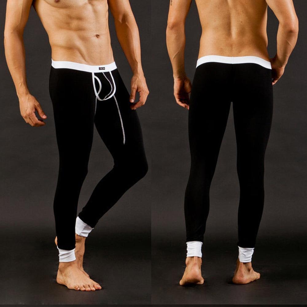 Winter Pants Men Thermal Warm Long Johns Pants Autumn Tight Leggings Inner Pants Modal Underwear Pouch Breathable Pants