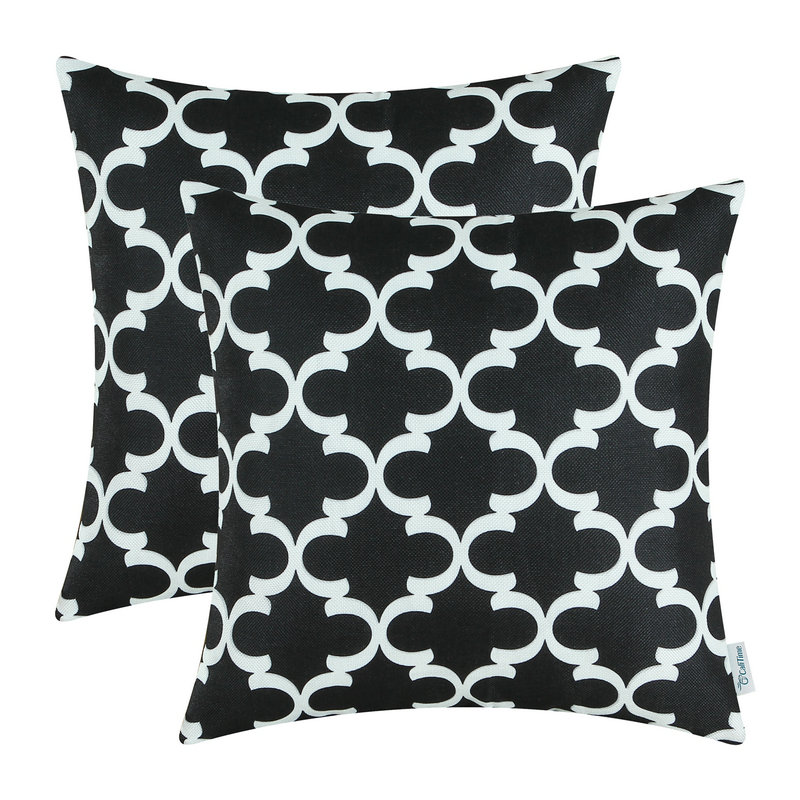 2PCS Square CaliTime Black Cushion Cover Pillows Shell Quatrefoil Accent Geometric Home Sofa Decor 18 X 18(45cm X 45cm)
