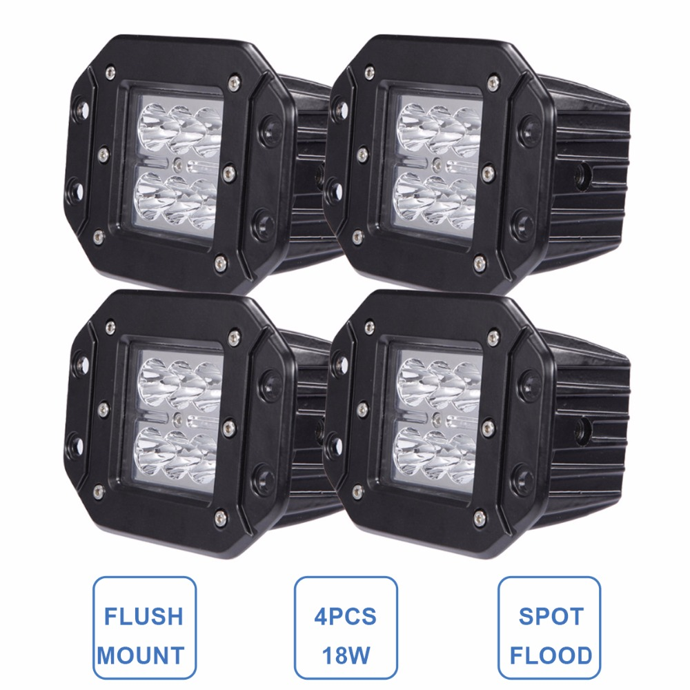 18W LED WORK LIGHT FLUSH MOUNT CAR ATV SUV PICKUP AWD 4WD BOAT TRAILER TRUCK 4X4 VAN CAMPER WAGON BUMPER REAR DRIVING FOG LAMP