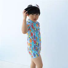 New Model Boys Rash Guards Two Pieces Swimwear Swimsuit Boy 1-8 Y Children Swimming Wear Suit Bathing Suits swim cap