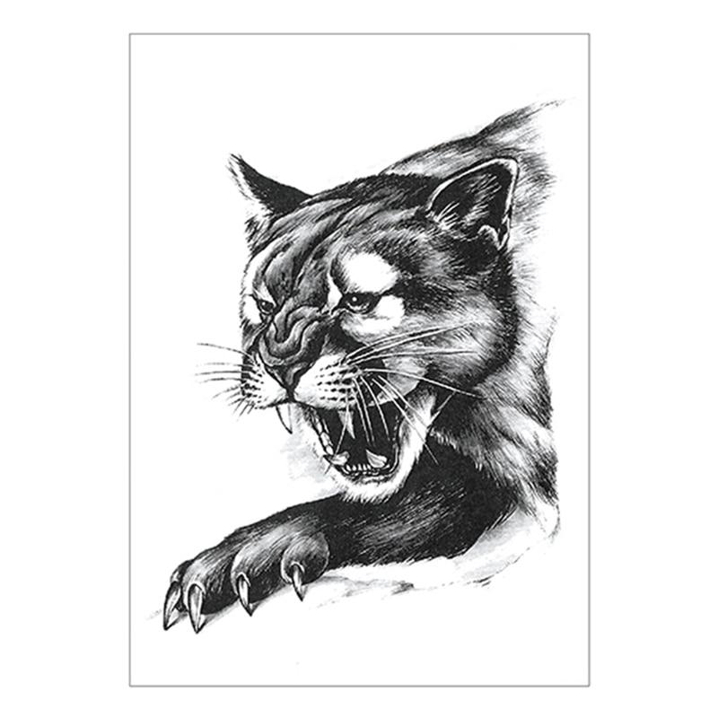 Black Leopard Cat Temporary Tattoo Sticker,15*21cm Flash Tattoo Stickers, Waterproof Fake Tatoo Henna Wall Sticker
