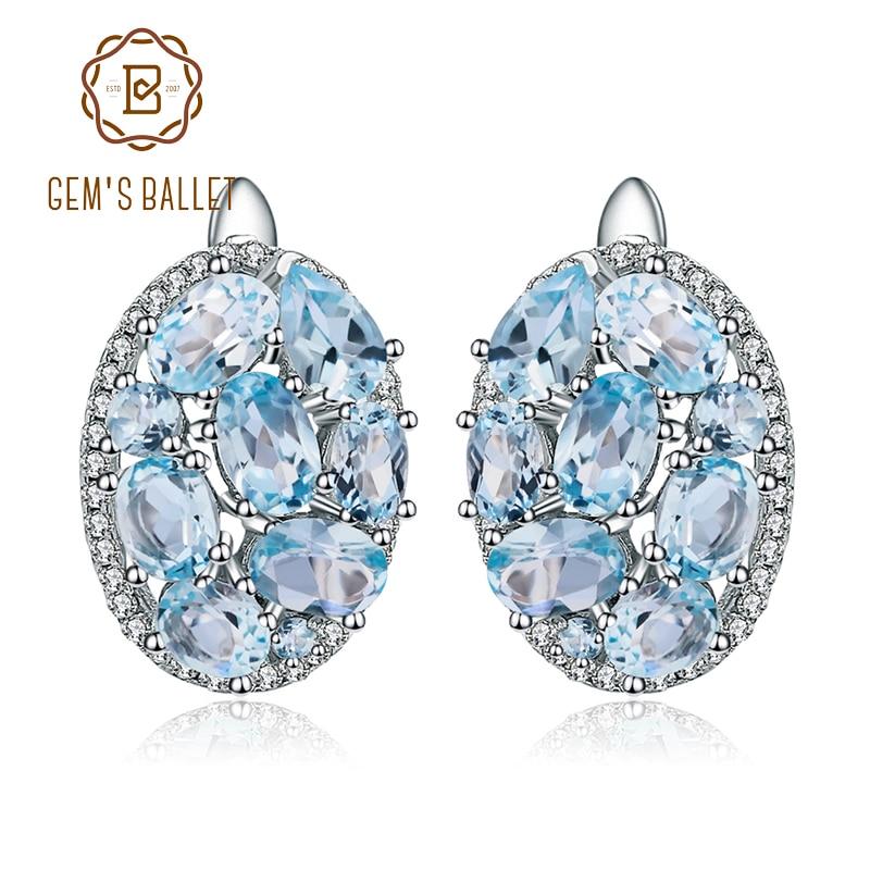 GEM'S BALLET Natural Sky Blue Topaz Pure 925 Sterling Silver Oval Clip Earrings Women Gift Vintage Luxury Fine Costume Jewelry