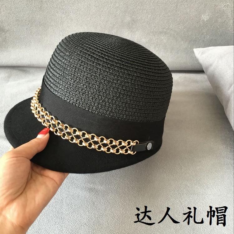 Straw patchwork wool double metal links equestrian cap short eaves han edition cap female baseball cap hat shading