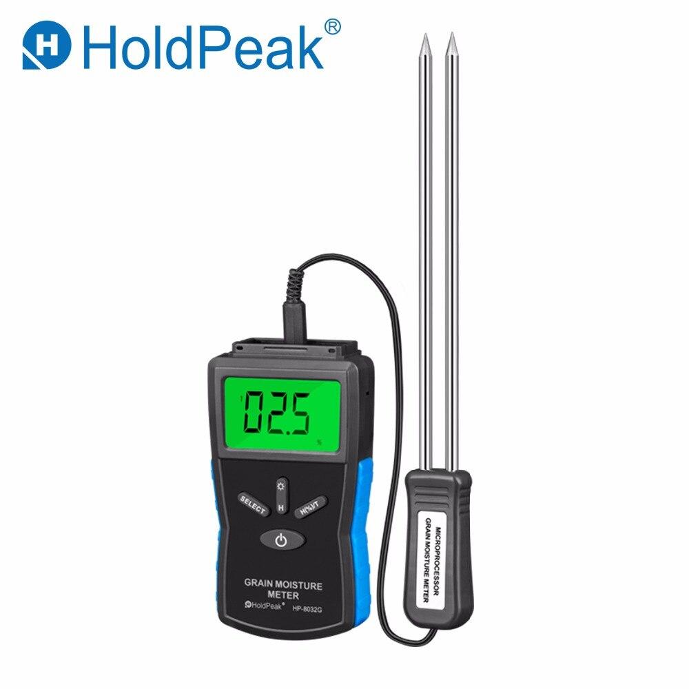 HoldPeak HP 8032G Digital Display Grain Moisture Meter 2~30% Humidity Tester Timber Damp Detector portable wood moisture meter