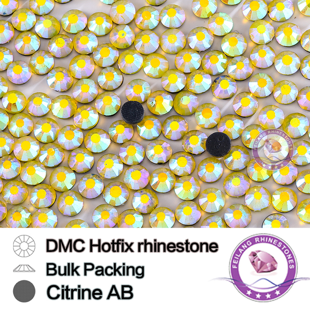 Citrine AB Size SS16 SS20 SS30 Bulking Packing HotFix Rhinestone For Garments Bags And Shoes