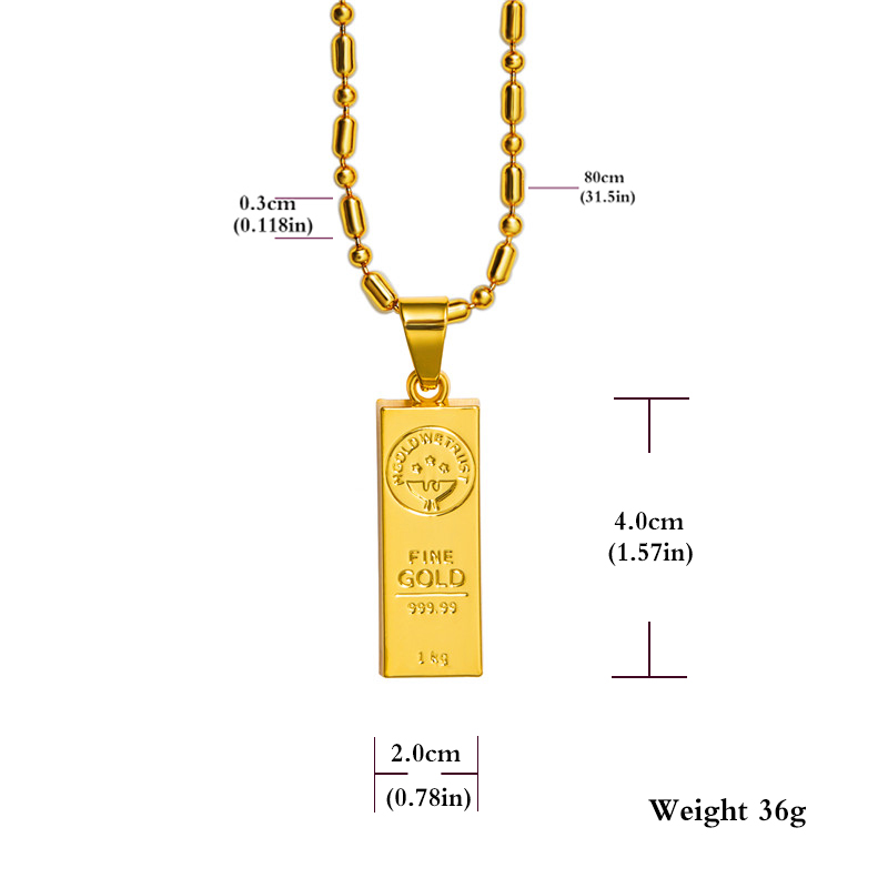 Golden Iced Out Bar Shape Pendant Hip Hop Beads Link Chain Necklaces