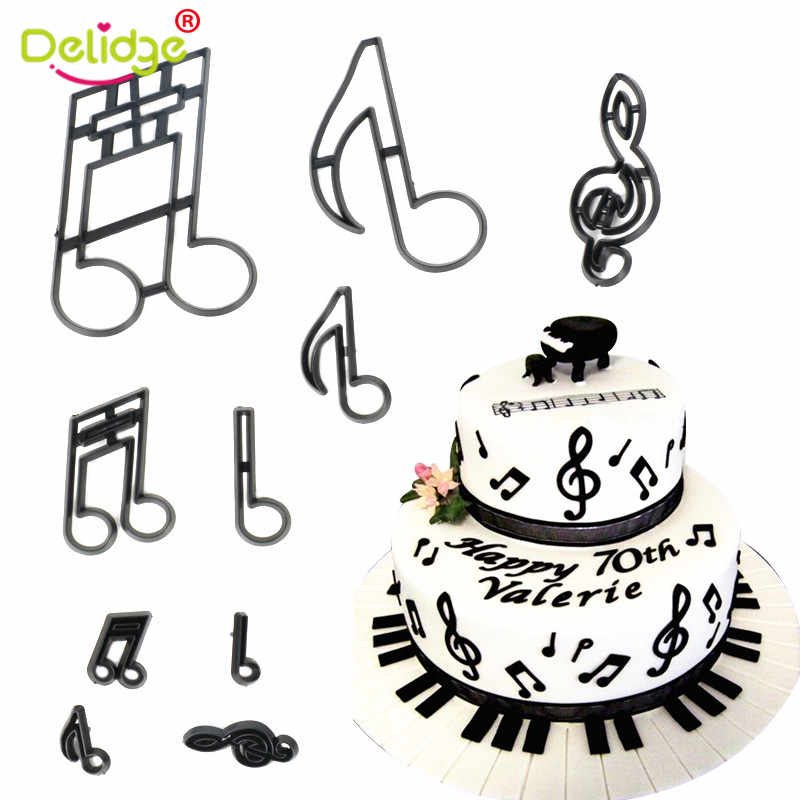 10Pcs Plastic Music Notes Cookie Cutter Baby Sugarcraft Fondant Cutter Mold Birthday Cake Decoration Tools Baking Mold Accessory
