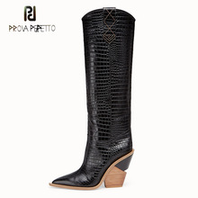 Prova Perfetto new fashion embossing plaid runway boots women knee high boots pointed toe strange high heel ladies chelsea boots недорого
