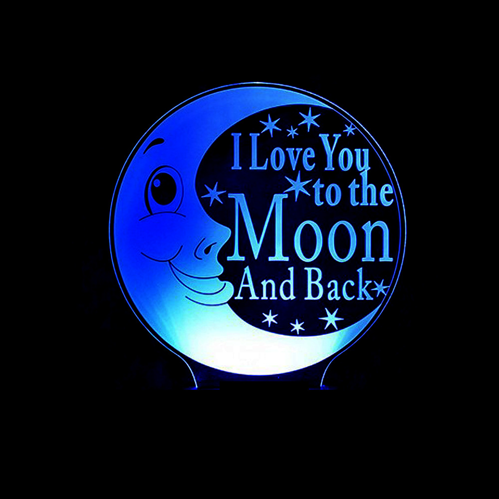 Moon Table Lamp 3D I Love You To The Moon And Back Nightlight LED Baby Sleeping Lighting Bedroom Bedside Night Light Decor Gifts