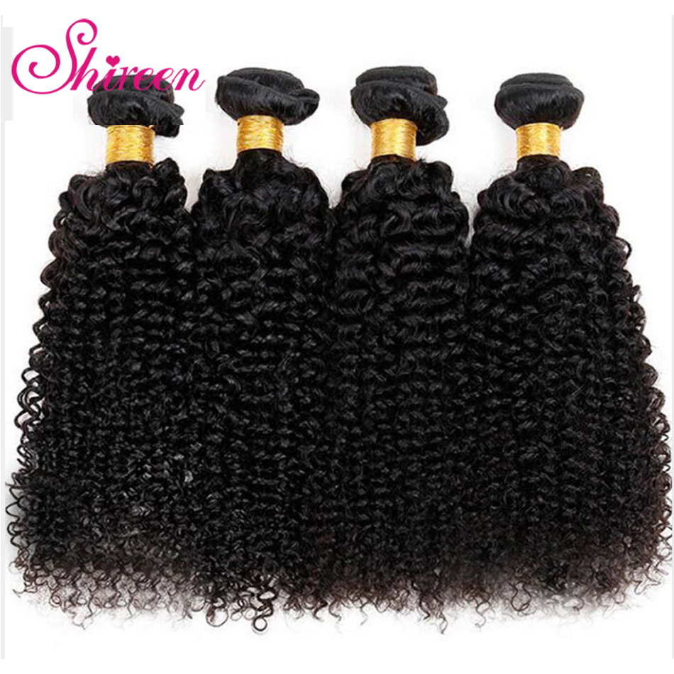 Shireen Hair Bundles Brazilian Remy Human Hair 4 Bundle Deals Afro Kinky Curly Hair Cheveux Humain Curly weave Hair Extensions(China)