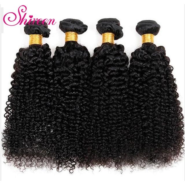 Paquetes de pelo Shireen cabello humano Remy brasileño 4 paquetes de ofertas Pelo Rizado Afro Chevaux Humain extensiones de cabello rizado