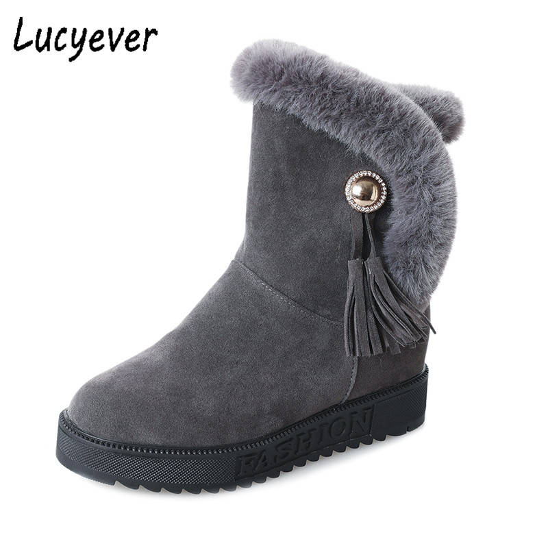 Lucyever Snow Boots Women Winter Plush Warm Shoes 2018 Botas Mujer Faux Suede Fur Platform Slip on Tassel Casual Shoes Woman suede plush women snow boots 2018 winter shoes woman platform fur lined short botines mujer flat ankle boots botas femininas page 1